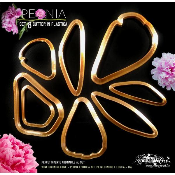 Cutter in plastica Peonia Erbacea set 8 pezzi - ITA