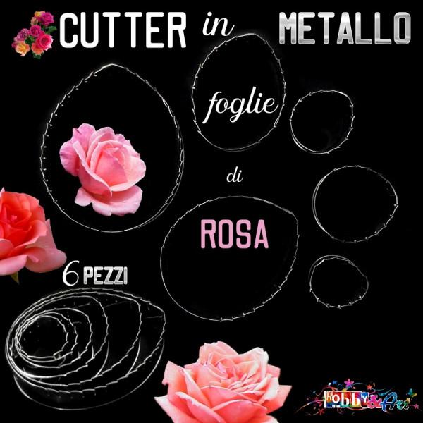 Cutter in metallo foglie di rosa - Set 6 pezzi