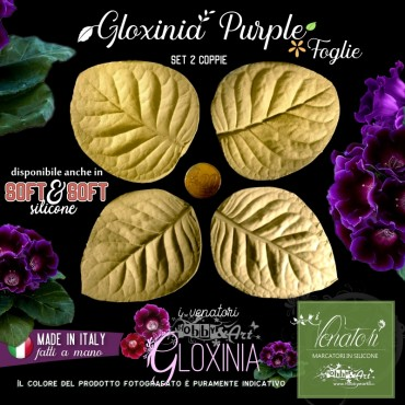 Venatore in silicone GLAXINIA PURPLE 2 foglie - ITA