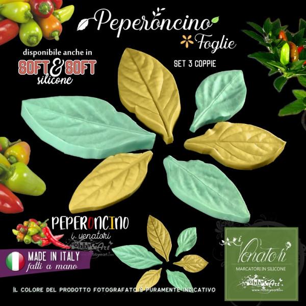 Venatore in silicone foglie di Peperoncino 3 misure - ITA