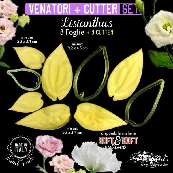 Venatore in silicone LISIANTHUS 3 foglie e 3 cutter abbinati - ITA