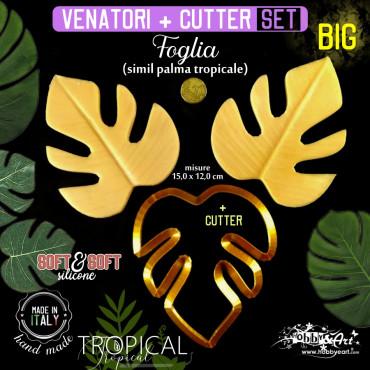 Venatore in silicone FOGLIA simil Palma tropicale grande 150 x 120 mm + cutter - ITA