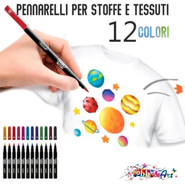 Pennarelli per STOFFE E TESSUTI 12 colori