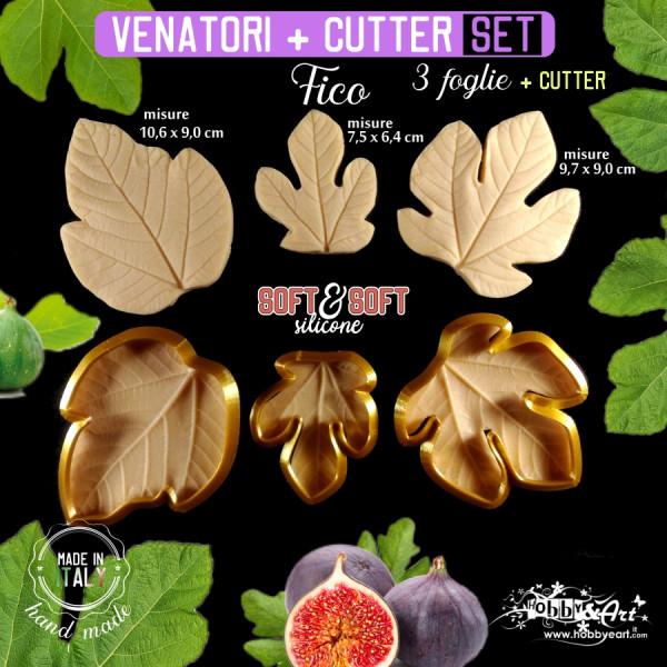 Venatore in silicone foglie di FICO 3 misure + cutter - ITA