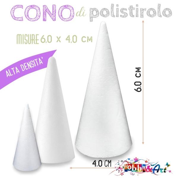 Cono di polistirolo misure  6,0 x 4,0 cm - Alta densità