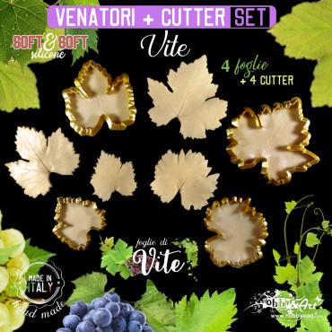 Venatore in silicone foglia di VITE Set 4 foglie + 4 cutter - ITA