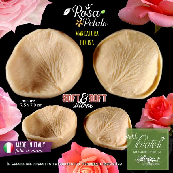 Venatore in silicone petalo di ROSA marcato 72x65mm - ITA