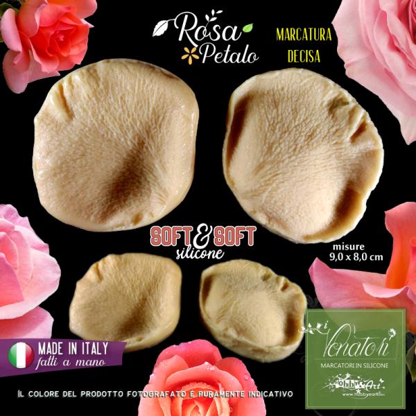 Venatore in silicone petalo di ROSA marcato 9x8cm - ITA