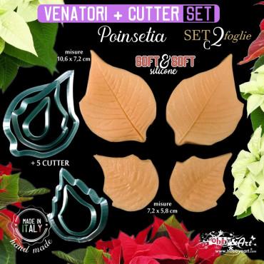 Venatore in silicone SET 3 POINSETIA + 5 Cutter
