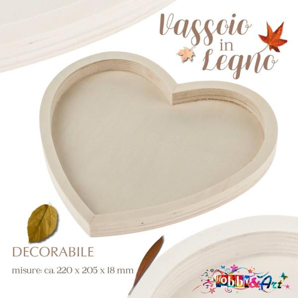 Base vassoio in legno grezzo forma cuore 22cm