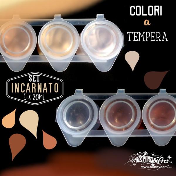 Colori a tempera linea INCARNATO - 6 colori da 20ml
