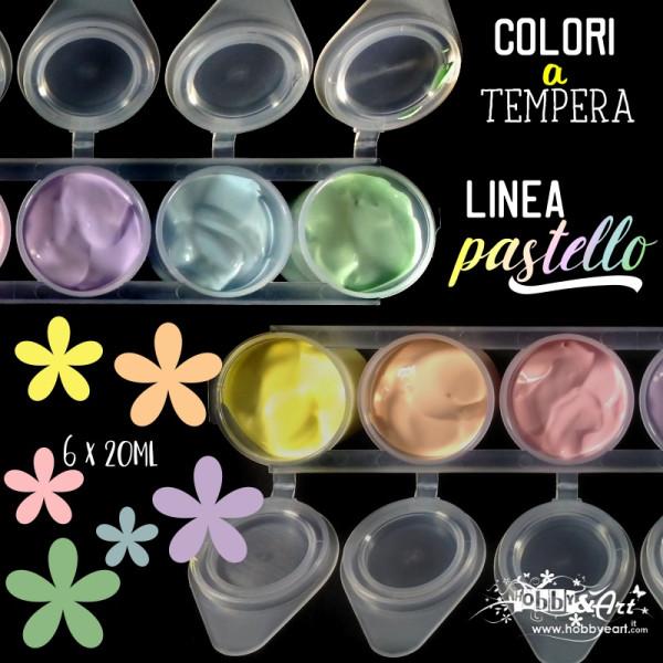 Colori a tempera linea PASTELLO - 6 colori da 20ml