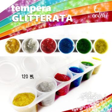 Colori a tempera GLITTERATA - 6 colori da 25ml