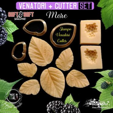 Venatore in silicone MORE stampo frutto + 3 foglie + cutter abbinati - ITA