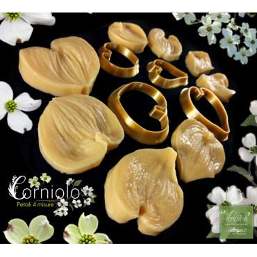 Venatore in silicone CORNIOLO Set 4 petali + 4 Cutter - ITA