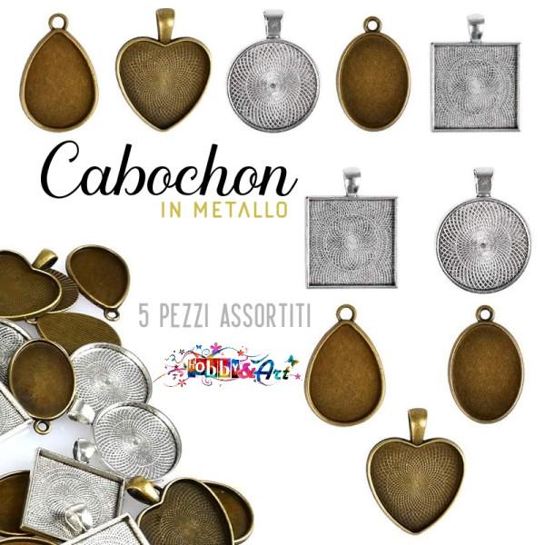 Cabochon in metallo - set 5 pezzi assortiti