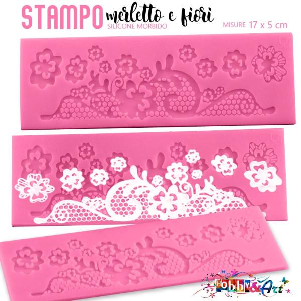 Stampo in silicone MERLETTO E FIORI - 17X5 cm
