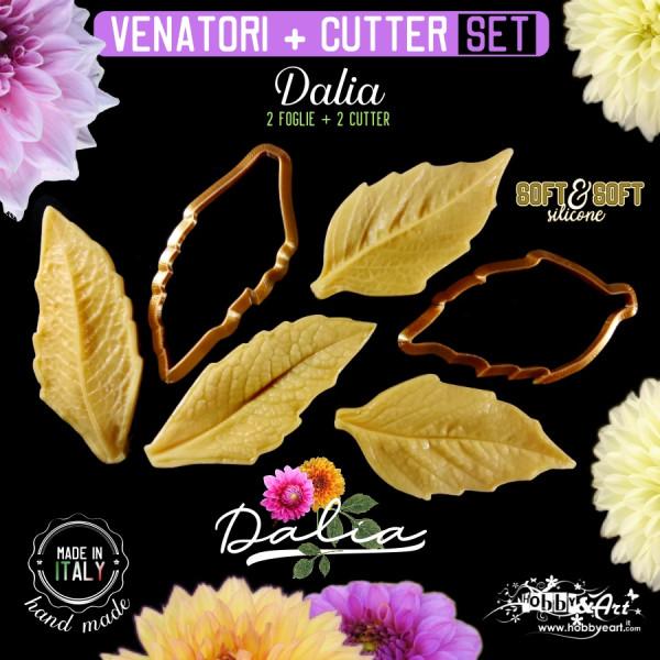 Venatore in silicone DALIA, 2 foglie con cutter abbinati - ITA