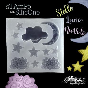 Stampo in silicone morbido Stelle-Luna-Nuvole