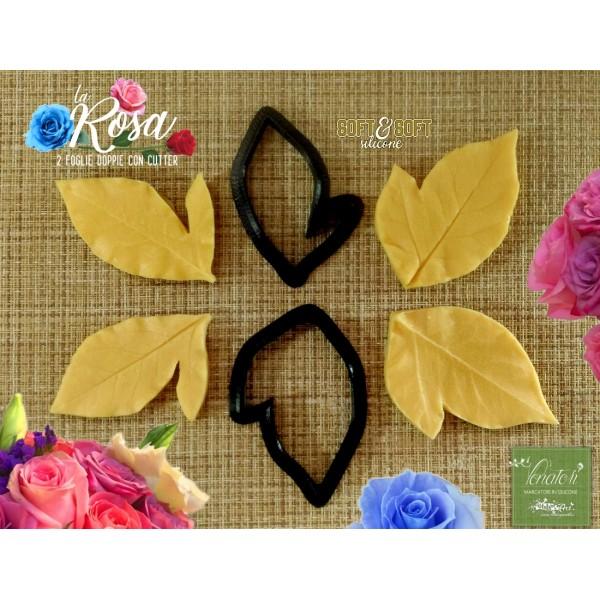 Venatore in silicone Rosa 2 foglie doppie con cutter - ITA