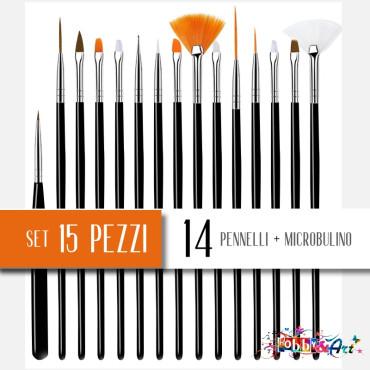 Set 15 pennelli per micropittura e velature manico nero