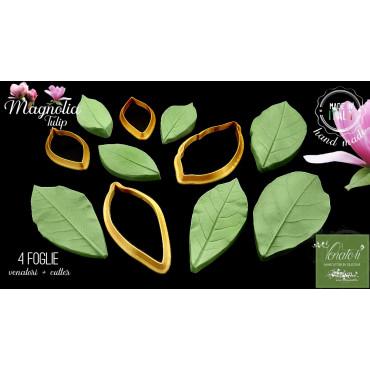 Venatore in silicone foglia di MAGNOLIA TULIP 4 foglie + Cutter - ITA