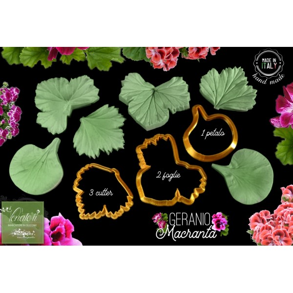 Venatore in silicone GERANIO IMPERIALE 1 petalo, 2 foglie con cutter - ITA
