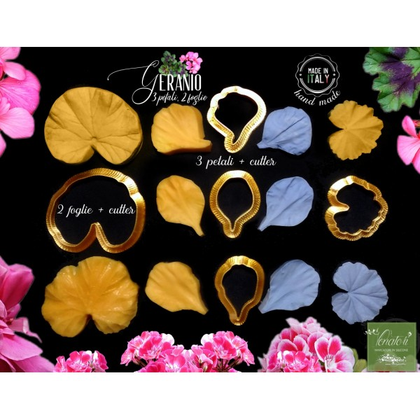 Venatore in silicone Geranio set 3 petali e 2 foglie + Cutter