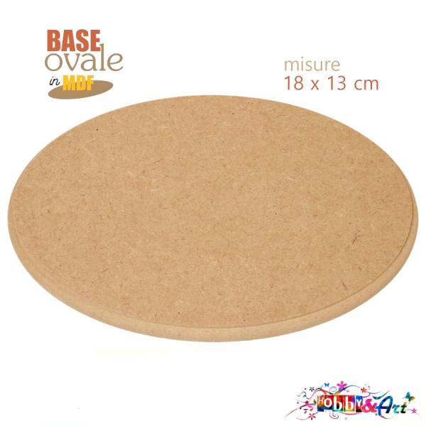 Base supporto ovale in MDF misure 18x13cm