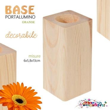Base in legno grezzo decorabile con inserto per candela lumino - H13