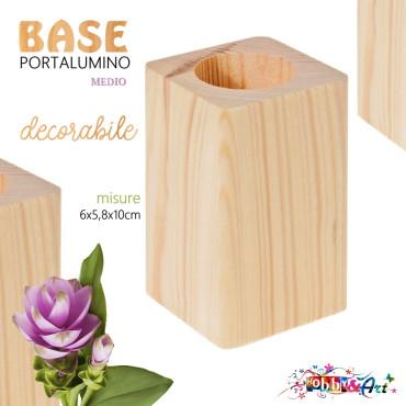 Base in legno grezzo decorabile con inserto per candela lumino - H10