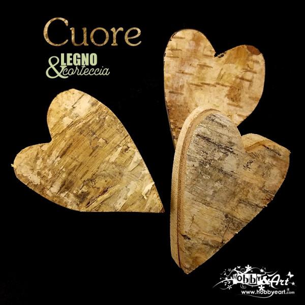 Base forma cuore in legno di betulla e corteccia 10 cm