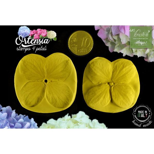 Stampo in silicone 4 petali di ORTENSIA, con cutter - ITA