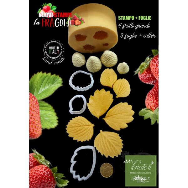 Venatore in silicone FRAGOLE 4 Frutti grandi + 3 foglie con cutter abbinati - ITA