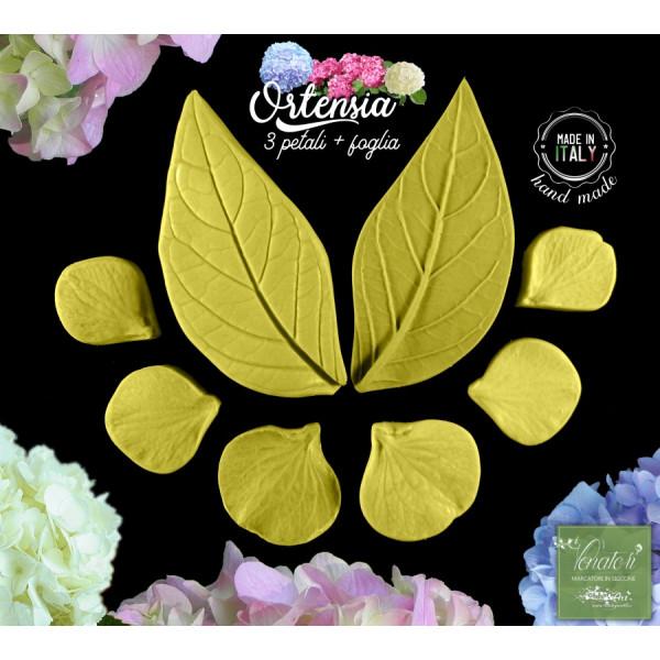 Venatore in silicone ORTENSIA 3 petali e foglia con cutter - ITA
