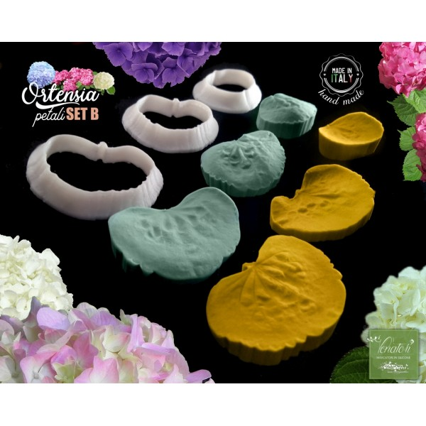 Venatore in silicone ORTENSIA 3 petali con cutter SetB - ITA