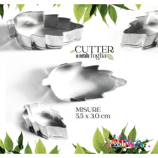 Cutter in metallo foglia 55 x 30 mm