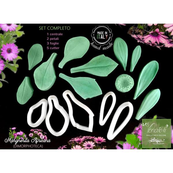 Venatore in silicone Margherita Africana - 1 centrale 2 petali 3 foglie 5 cutter - ITA