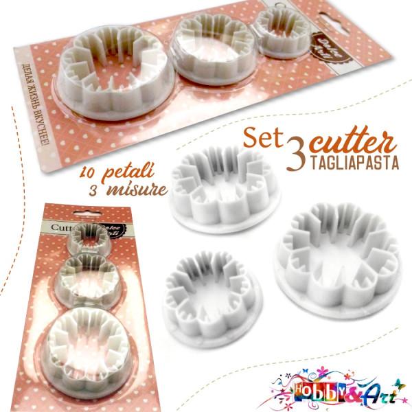 Cutter tagliapasta in plastica a 10 petali in 3 misure differenti