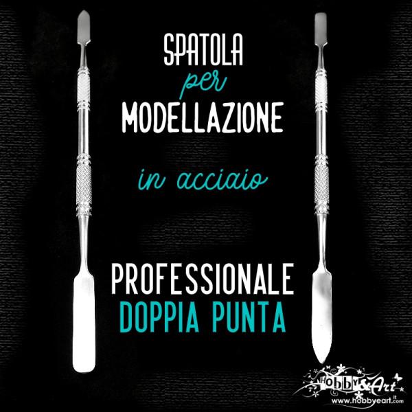 DOPPIA SPATOLA PROFESSIONALE in acciaio per scultura e modellazione