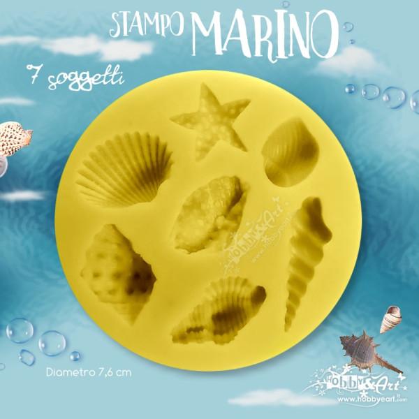 Stampo in silicone morbido, 7 soggetti marini