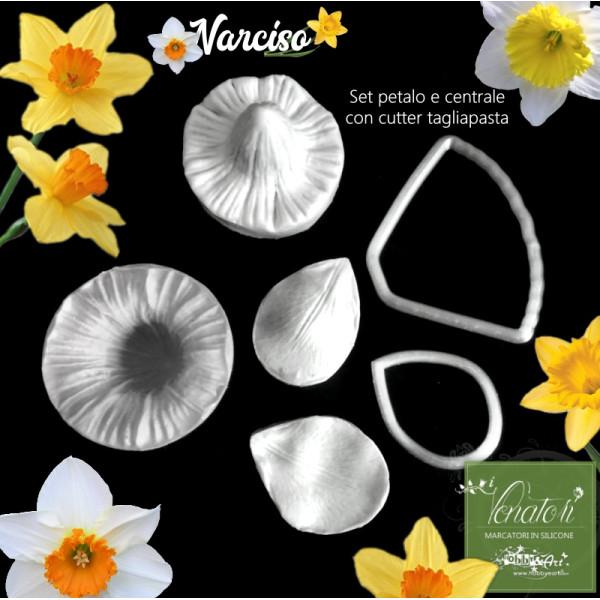 Venatore in silicone Narciso petalo e stampo campanula con cutter abbinati - Set 1