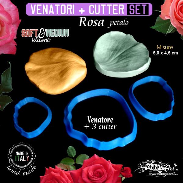 Venatore in silicone petalo di Rosa 50x45mm con 3 cutter abbinati - ITA