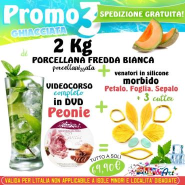 PROMO 3 - 2Kg Porcellana Fredda + DVD Peonie + Venatori e Cutter Peonia