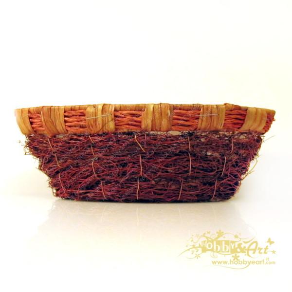 Cestino rosso-arancio, foderato, forma barca