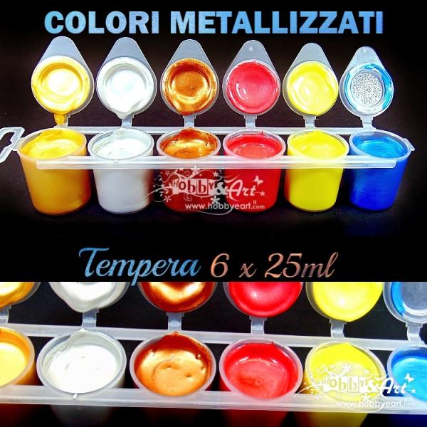 Colori a tempera Metallizzati - 6 colori da 25ml