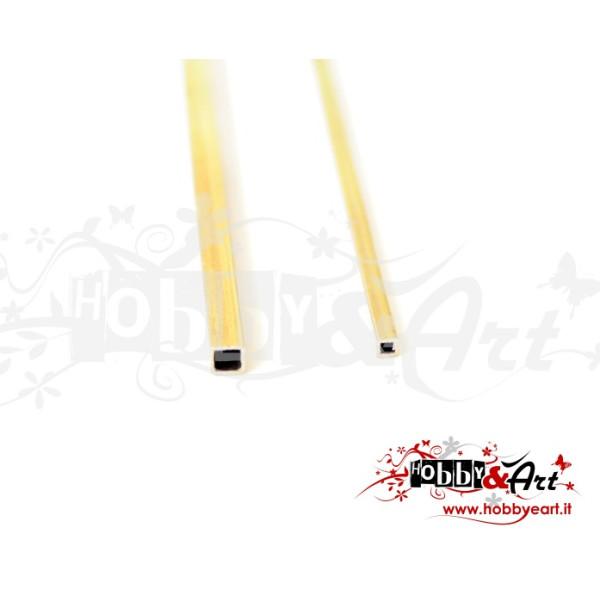 Coppia tubi quadrati in ottone da 5 e da 10 cm