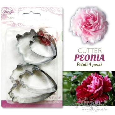 Cutter Peonia petalo, in acciaio - Set 4 pezzi - BIG