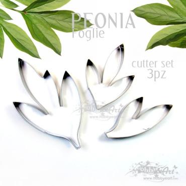 Cutter in metallo Foglie di Peonia - 3pz