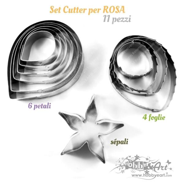 Cutter tagliapasta per rosa, in acciaio - Set 11 pezzi